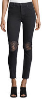 Mother Insider Crop Step-Fray Denim Jeans w/ Lace Insets