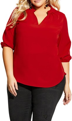 City Chic Amore Split Neck Top