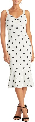 Rachel Roy Polka Dot Crepe Midi Dress