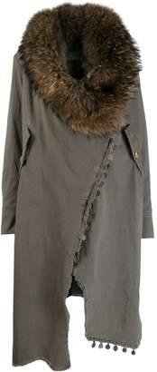 Bazar Deluxe fur collar wrap-around coat