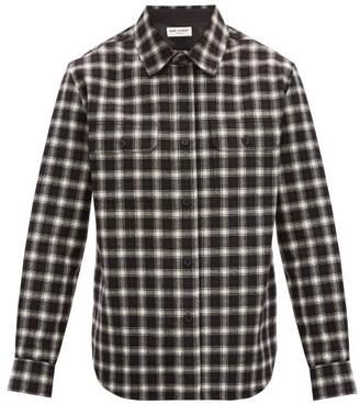 Saint Laurent Checked Wool-flannel Shirt - Black Multi
