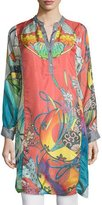 Johnny Was Yokina Long-Sleeve Printed Silk Slip Dress, Plus Size