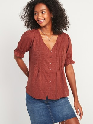 Old Navy Textured Clip-Dot Button-Front Blouse for Women