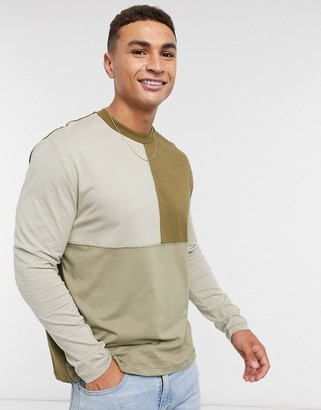 ASOS DESIGN relaxed long sleeve t-shirt with colour block in khaki