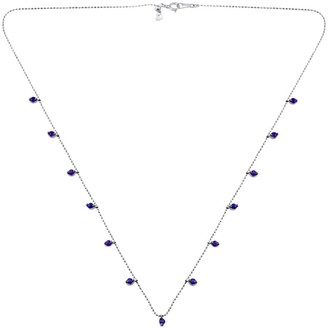 Artisan 18K Solid White Gold Beaded Chain With Amethyst Gemstone Jewelry