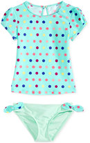 Roxy 2-Pc. Rainbow Dot-Print Rashguard Set, Little Girls (2-6X)
