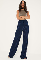 Missguided Tall Navy Pleated Wide Leg Trousers