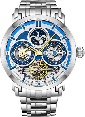 Stuhrling Original Men's Luciano Skeleton Stainless Watch w/ Link Strap