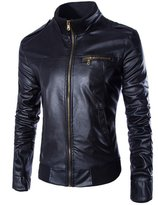 Benibos Men's Casual Slim Motorcycle Zipper Faux Leather Jacket(L, )