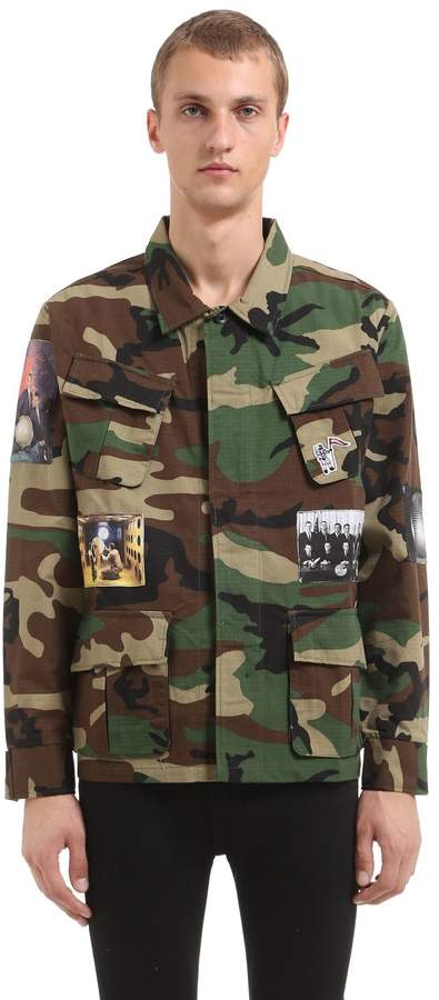 Bbc-Billionaire Boys Club Patched Camo Printed Cotton Blend Shirt