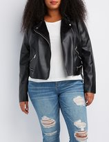 Charlotte Russe Plus Size Fleece Lined Moto Jacket