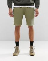 Asos Waffle Slim Jersey Shorts In Khaki