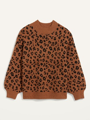 Old Navy Cozy Leopard-Print Plus-Size Mock-Neck Sweater