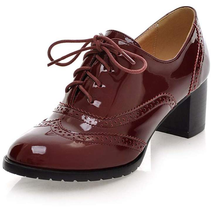 b3df7b62e62d4 Vimisaoi Women's Vintage Oxfords Cuban Brogues Wingtip Pu Leather Lace-up  Square Mid Heel Ankle Booties College Style Dress Shoes