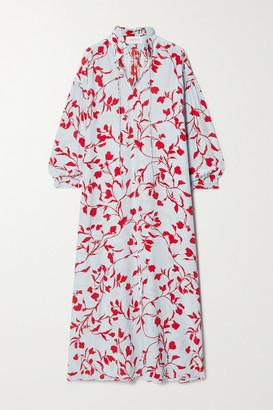 SEREN Printed Silk Crepe De Chine Maxi Dress - Light blue