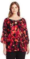 NY Collection Women's Plus Size Printed 3/4 Angel Sleeve Cold Shoulder Knit Top with Key Hole
