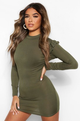 boohoo Petite Frill Detail High Neck Mini Dress