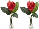 Asstd National Brand Nearly Natural Set of 2 Anthurium Silk Flower Arrangement with Bud Vase