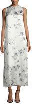 Calvin Klein Sleeveless Floral-Print Midi Dress, Charcoal