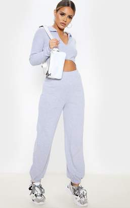 PrettyLittleThing Petite Grey Marl Ribbed Joggers