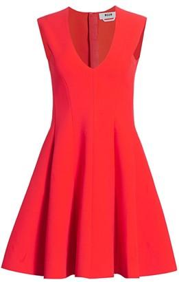 MSGM Paneled Fit-&-Flare Dress