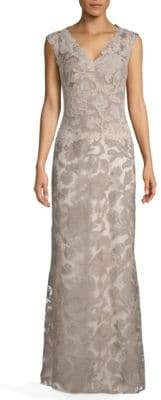 Tadashi Shoji V-Neck Sleeveless Gown