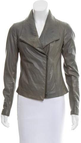 Vince Knit-Paneled Leather Jacket