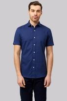 Moss Bros Slim Fit Navy Linen Short Sleeve Casual Shirt