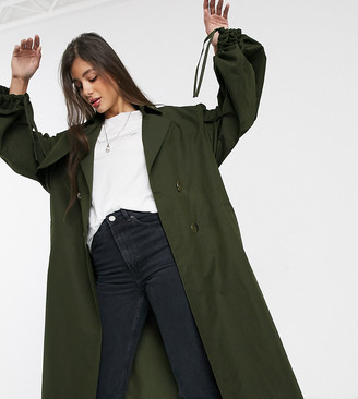 Asos DESIGN Tall extreme sleeve trench coat in khaki