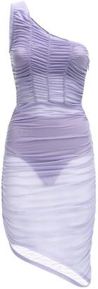 Danielle Guizio Ruched One-shoulder Mesh Mini Dress
