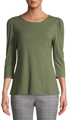 Time and Tru Women's 3/4 Puff Sleeve Top