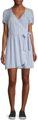Arizona Juniors Short Sleeve Striped Wrap Dress