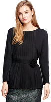 Brooks Brothers Wool, Silk and Cashmere Pleat Front Sweater