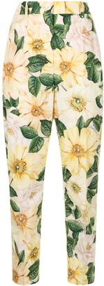Dolce & Gabbana Camellia-print high-waisted trousers