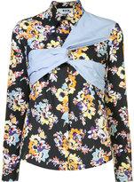 MSGM wrap detail floral print shirt - women - Cotton - 44