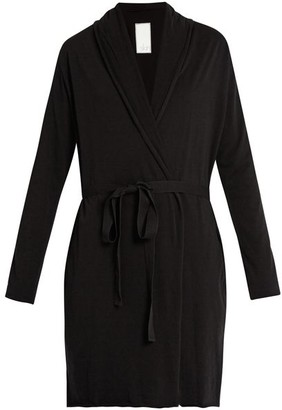 Skin Double-layer Pima Cotton-jersey Wrap Robe - Black