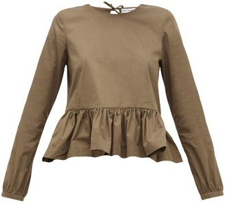Molly Goddard Wilfred Peplum-hem Cotton Top - Womens - Khaki