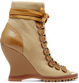 Chloé River Canvas And Leather Wedge Ankle Boots - Brown