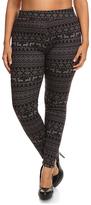 Black Fair Isle Velvet-Lined Leggings - Plus