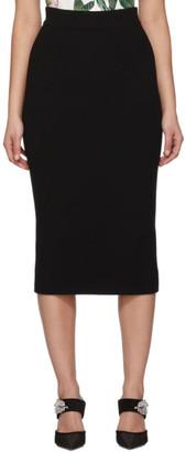 Dolce & Gabbana Black Wool Straight Mid Skirt