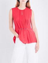 3.1 Phillip Lim Ladies Punch Pink Pintucked Silk-Crepe Top