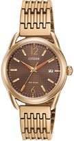 Citizen Women's Drive Rose Gold-Tone Stainless Steel Bracelet Watch 34mm FE6083-56X