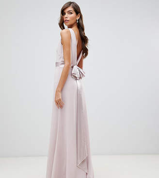 TFNC bridesmaid exclusive sateen bow back maxi in mink-Pink