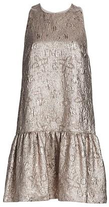 Lela Rose Sleeveless Flounce Hem Metallic Matelasse Dress
