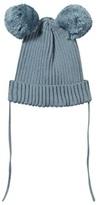 Mini Rodini Blue Knitted Beanie with Pom-Pom Ears