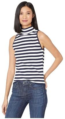 Milly Mock Neck Shell (Navy/White) Women's Clothing