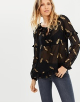The Kooples Glitter Feather Blouse