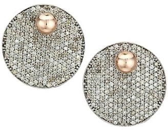 Nina Gilin Pave Diamond Round Drop Earrings