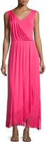 Chelsea & Theodore Sleeveless V-Neck Maxi Dress W/ Fringe, Pink