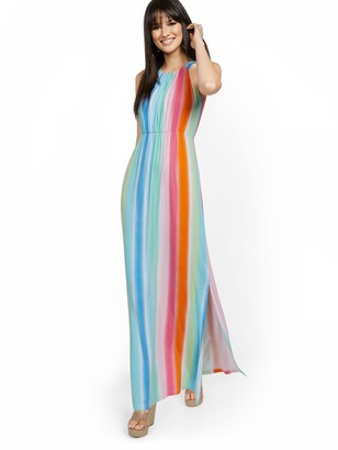 New York & Co. Rainbow Stripe Halter Maxi Dress
